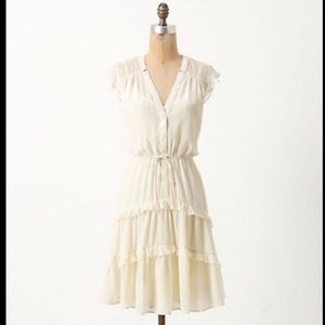 Anthro's Arched Careena Silk Ivory dress by LIL